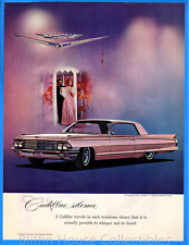 Vintage 1962 Cadillac Coupe de Ville Pink Cadillac w/ Cartier Jewelry Print Ad