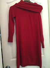 BANANA REPUBLIC A28 Cowl Neck Solid Red Luxury Cashmere Blend Sweater Dress Sz M