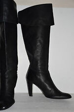 Calvin Klein Black Leather Knee High Heel Boots Women's Size 9.5 M