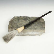 VINTAGE CHINESE SCHOLAR'S INK STONE & CALLIGRAPHY BRUSH STUDY TREASURES STUDY