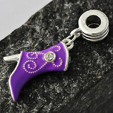 Vogue Silver Womens Floating Purple Enamel Shoes Crystal Charm Beads Wholesale