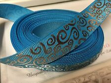 New 1 Metre Turquoise Silver Foil Grosgrain Ribbon 22mm Cakes Bow Dummy