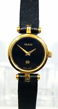 Gucci Black Leather Face Stainless St Gold Case Women's Swiss Watch