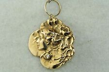 ART NOUVEAU ANTIQUE 14K GOLD DIAMOND LADY HEAD FACE PENDANT WATCH FOB CHARM
