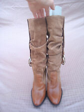 Jessica Simpson Brown Genuine Leather Suede Gold Women High Heel Boots 7 Brazil