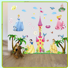 Princess Castle Wall Sticker Nursery Baby Girl Bedroom Butterfly Tree Decals Art