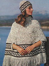 "Ladies Poncho Knitting Pattern with Hat Chunky 34-38"" Retro 538"