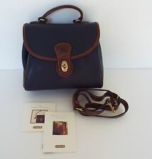 Vintage Coach Sheridan Convertible Leather Handbag Navy Blue Brown Monticello