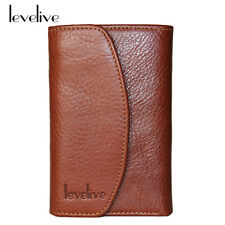 Italian Genuine Cow Leather Stud-snap Mens Trifold with Coin Pouch Wallet Brown