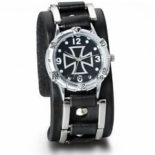 Iron Cross Mens Military Army Black Leather Band Sport Quartz Analog Wrist Watch