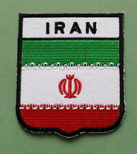 NATIONAL FLAG COUNTRY SHIELD SEW ON / IRON ON EMBROIDERED PATCH:- IRAN