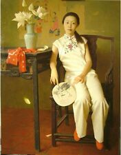 Hand painted Oil painting female portrait Chinese young girl seated flowers fan