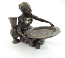 Vienna Cold Painted Bronze Lady with Card Tray Holder Signed Bergman