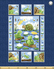 "Susybee PAUL & SHELDON Turtle Frog Panel Quilt Fabric ~ 35"" x 44"""
