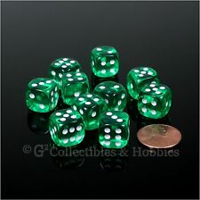 NEW 10 Transparent Green 12mm Rounded Edge D6 Dice Set D&D RPG Game MTG Chessex