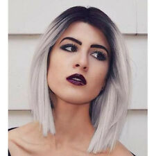 "12"" Heat Resistant Bob Straight Black and White Grey Ombre Lace Front Wig"