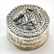 Vintage Chinese Shard Box Tibetan Silver Trinket Treasure Jewelry Mirror Monkey