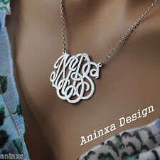 """Monogram Personalized  Necklace Your Initials 925 Sterling Silver and 16"""" Chain"""
