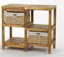 Wooden Frame Wicker basket Drawer Storage Unit  Bed bathroom Organizer