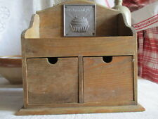 Pretty Small Vintage French Spice Rack,  Pine Two drawer