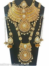 INDIAN BRIDAL STYLE 8 PIECE ALLOY JEWELLERY SET CLEAR NEW AQ-003