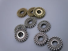 50pcs Tibetan Silver/Gold Mixed Round Charms Spacer Beads DIY 8mm Lead-Free