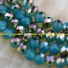 6x8mm half blue  Faceted Crystal  Gemstone Loose Beads 70pcs