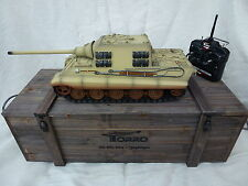 Torro 1/16 RC German Jagdtiger BB Firing Tank Desert 2.4GHz with Wooden Box