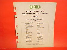 1966 DUPONT IMPORTED CAR PAINT CHIPS COLOR LIST PORSCHE JAGUAR MERCEDES-BENZ MGB