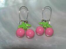 Estate Two Cotton Candy Pink Enamel Cherries with Light Leaves Dangle Earrings