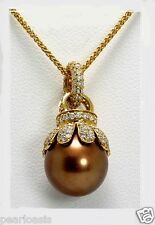 "11.1MM Chocolate Tahitian Pearl Diamond Pendant w/Chain 16"", 18K Gold, NEW"