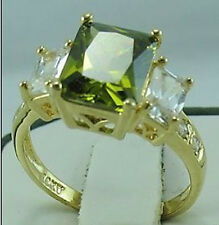 lady's nice gorgeous jewelry 10KT yellow gold filled peridot ring SIZE:8