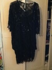 black lace sequin bead top with black vest top size 14-18 amazing
