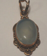 Vintage Copper setting pendant with light green stone....BEAUTIFUL