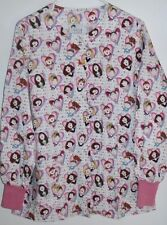 """G.A.L.S. Scrub Coat """"Girls Rule"""" Pink/Heart/Faces/ M Snap Front, 2 Pockets"""