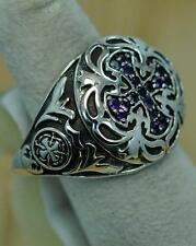 SOLID 925 STERLING SILVER AMETHYST CROSS MENS RING SIZE 12 #r0210 MR205