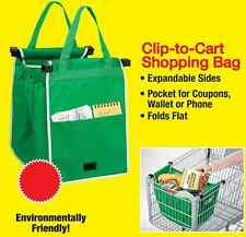 *** Seller Grab Bags REUSABLE Clip To Cart SHOPPING Grocery Eco Friendly ***