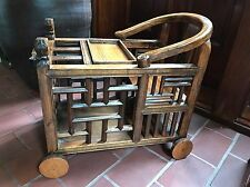 Antique Chinese Kids Wooden Baby Toddler Carriage/Feeding Table RARE!
