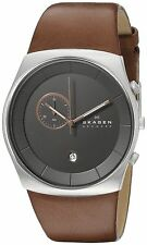 Skagen Men's Havene Leather Band Chronograph Slim Dress Watch SKW6085