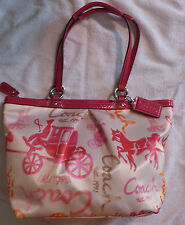 COACH 14892 HORSE AND CARRIAGE SIGNATURE MULTI-COLORED PINK SHOULDER BAG TOTE