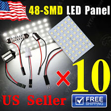 10XWhite 48SMD Panel Interior Dome Map Light+1156 BA15S Festoon T10 BA9S Adapter