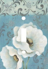 ELEGANT WHITE POPPIES ON BLUE LIGHT SWITCH PLATE COVER HOME DECOR
