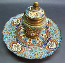 Superb 19th C. French Champleve Enamel Inkwell on Bronze c. 1870s