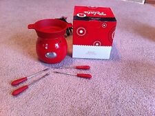 Velata Rouge  Cheese And Chocolate Fun Fondue Warmer With Forks  new in box