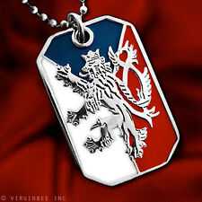 CZECH REPUBLIC FLAG BOHEMIAN LION COAT ARMS PENDANT DOG TAG NECKLACE NICKEL FREE