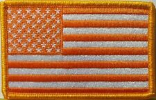 USA FLAG ORANGE & WHITE Military Patch With VELCRO® Brand Fastener Gold Border