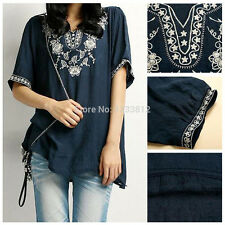 Vintage 70s Boho Women Ethnic Floral Embroidered Hippie Blue Tunic Chic Blouse