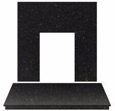 """BLACK GRANITE ELECTRIC GAS FIRE FIREPLACE WALL FLOOR HEARTH BACK PANEL SET 48"""""""