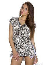 High Low Leoparden Animal Print Shirt T-Shirt Shirt Top Multicolor Weiß Gr  38