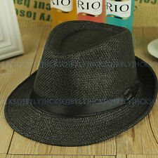 Unisex Women Men Summer Straw Packable Travel Panama Hat Fedora Trilby Brim Cap
